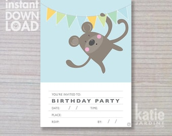 instant invitation -  boys invitation - monkey invitation - childrens invitation  - downloadable invite - monkey - blue invite