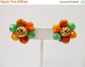 On Sale Vintage Orange, Green and Brown Beaded Cluster Earrings Item K # 2292