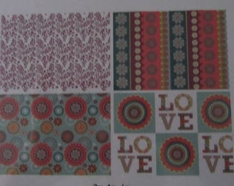 Set of 8 fabrics coupons - love, flowers and curly - Artemio - 4 x 2 coupon - 15 cm x 15 cm