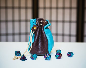 Sky Blue & Maroon Harlequin - Four-Sided Leather Dice Bag
