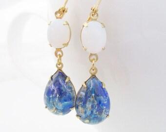 Blue Opal Earrings, Blue Teardrop Earrings, Vintage Glass Opal Earrings, Gold Dangling Teardrops, Vintage Stone Earrings, Silver Drops
