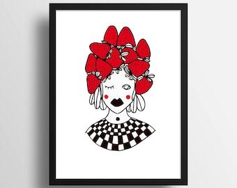 """Illustration """"La fille aux fraises"""" A4 Print"""