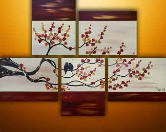 Abstract Painting, Landscape Painting, Tree Painting, Birds Painting, Wall Art, Gabriela, Wall Decor, Abstract Painting,, Red, Made To Order