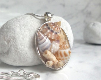 Seashell necklace, real sea shell jewelry summer ocean boho jewelry, nature jewelry, starfish necklace, beach lover gift