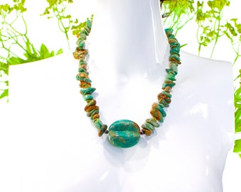 VINTAGE: CHUNKY Natural Turquoise and Sterling Silver Necklace - Earthy Stone Necklace - SKU 12-C6-00011619