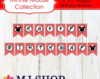 INSTANT DOWNLOAD Printable Red Minnie Mouse Happy Birthday Banner
