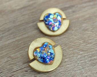 Glitter stud earrings with heart . Polymer clay