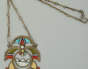 Signed Zuni Sterling Silver Large Inlay Necklace