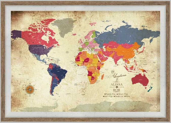 Maps for weddings push pin world map 40x60 inches large like this item gumiabroncs Image collections