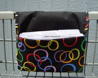 40% Off Coupon Organizer Cash Budget Organizer Holder- Attaches to your Shopping Cart - Rainbow Color Circles