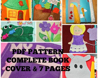 Quiet book pattern and instructions, complete book, cover and 7 activity pages #2