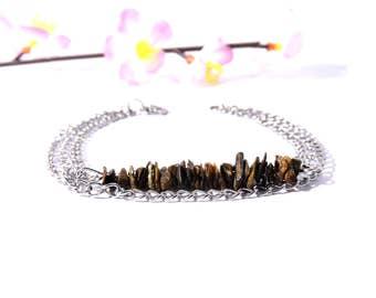 Gypsy bracelet, tiger eye jewelry, multistrand silver bracelet stone jewelry chain bracelet silver gypsy jewelry natural stone bracelet shin