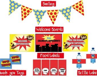 Superhero themed party printables with superhero invitation