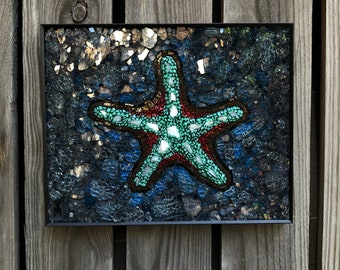Starfish mosaic, starfish stained glass mosaic wall art