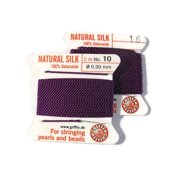 Size 10 or 16 : Dark Purple Cord, 100% Silk Cord with Built-In Stainless Steel Needle for Jewelry & Hand Knotting, 2 Yard Spool