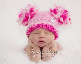 SALE Baby Girl Hat - Baby Easter Hat Baby Hat Pink with Pom Poms &  Bunny button - Very soft and fun texture