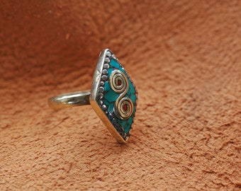 Nepal Adjustable Ring Tibetan Silver Inlaid with Stone