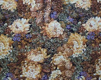 Fall Autumn Mums and Pine Cones, Quilt or Craft Fabric, Fabric