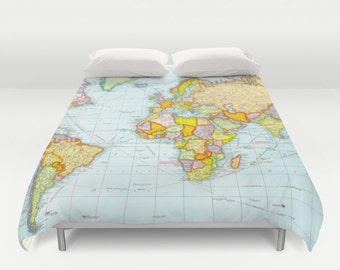 Map duvet cover etsy world map duvet cover vintage map duvet cover geography duvet cover gumiabroncs Image collections