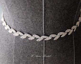 Rhinestone Heirloom Crystal Vintage Style Bridal Belt, Wedding dress Sash Belt, silver thin Crystal wedding belt