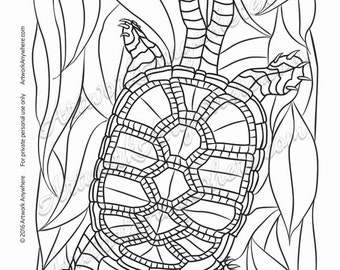 "Lizards, Turtles, and Frogs ""Leafy Turtle with Patterned Shell"" Adult coloring page printable download from Artwork Anywhere ~hand drawn~"