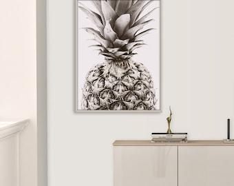 Pineapple Art Print, Black and white, Pineapple wall art, Tropical Art Print, Pineapple Poster, Pineapple Photography, Printable