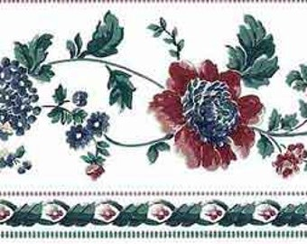 White, Blue FLORAL Wallpaper Border Peonies by VILLAGE 588463 Cottage Style Cluster Flower Blossoms in Red with Green Ivy Vines