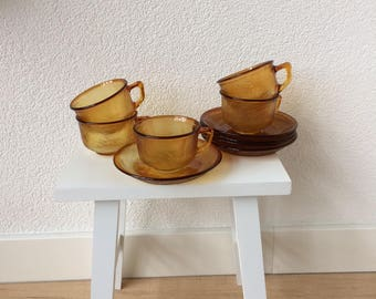 Cup and Saucers Arcopal Sierra (5 pieces) Ochre Yellow