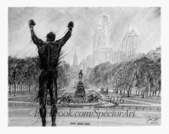 Rocky Balboa - Artwork - Art Print - Philly Art - Rocky Decor - Philadelphia Skyline - Creed - Rocky Steps - Philadelphia - Art