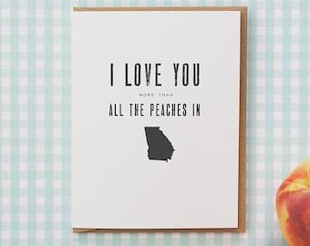 southern love greeting card - peaches in georgia