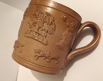 Antique 19th Century Hunting Scene Salt Glazed Stoneware Tanker Mug