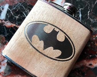 Batman - Bruce Wayne - The Dark Knight - 6oz Hip Flask Laser Engraved!