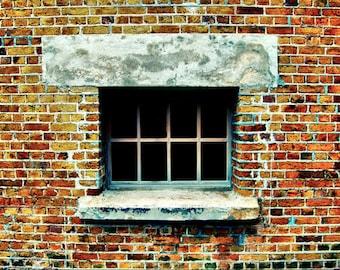Red Brick Window - Fine Art Photography Print - 8x12 - St George Bermuda Abstract Decor