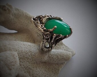 Chrysopase ajustable sterling silver ring,woodland ring,green stone ring