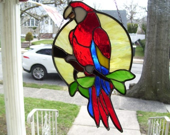 Stained Glass Scarlet Macaw Parrot Sun catcher