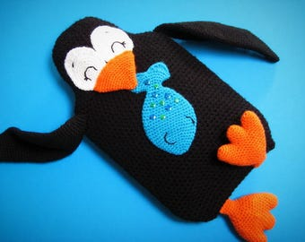 Penguin Hot Water Bottle Cover Cozy PDF CROCHET PATTERN Animal Pyjama Case Pillow