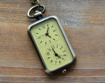 Double Timezone WORKING Pocket Watch Necklace Antique Bronze (BB026)