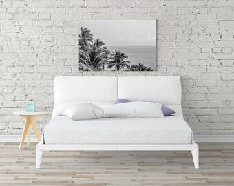 Black White Tropical, Black White Palm, Palm Tree Print, Coastal Canvas Art, Photography Print, Extra Large Wall Art, Huge Canvas Art