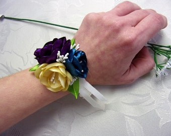 Wedding Wrist Corsage / Satin Flower Corsage / Bridesmaid Bracelet / Blue, beige and purple Satin corsage / Prom corsage / Wedding accessory