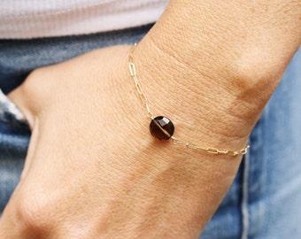 Gold and Gemstone Bracelet, 14K Gold Bracelet, Gemstone Bracelet, Layering Bracelet, Gold and Stone Bracelet, Smokey Topaz, Brown Gemstone