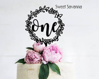 Floral Cake Topper - Number Cake Topper MADE IN AUSTRALIA - Wreath cake topper