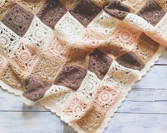 Crochet babyblanket / babywrap / throw / afghan / milky / beige / brown / cotton bkanket / knitted blanket
