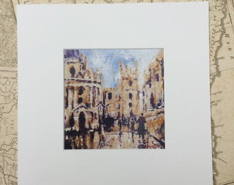 Oxford cityscape print, a street scene, mounted, ready to frame