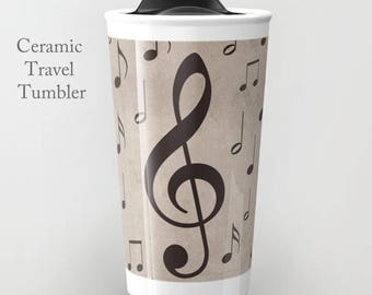 Music Note Tumbler Mug-Music Travel Mug-Music Decor-Coffee Tumbler-Ceramic Mug-12 oz Mug-Insulated Coffee Mug-Insulated Travel Mug