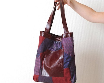 Patchwork tote bag, Dark red and purple fabrics, Crimson red varnished leather, Gift for her, MALAM