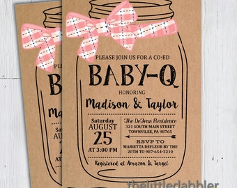 Printable BBQ Mason Jar Baby Shower Invitation -- Pink Kraft Country Picnic Baby Q Shower, Co-Ed Baby Barbecue Shower -- PNG & JPG