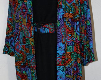 Vintage 1980's Lady Carol Of New York Three Piece Set Jacket Dress And Matching Belt