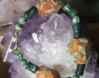 Lovely faceted jasper Bracelet and moss agate from India