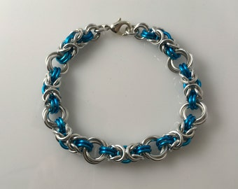 Byzantine Rose Bracelet Teal, Blue, Aqua and Silver Two-toned Handmade Chainmaille, Cahin Maille, Chain Mail, Chainmail Jewelry