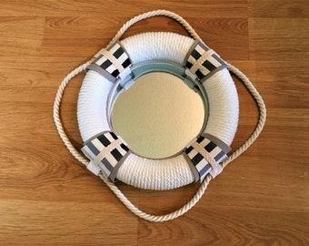 "Nautical Life Preserver Rope Mirror, 13"", Gray & White, Elkhart Lake Boathouse"